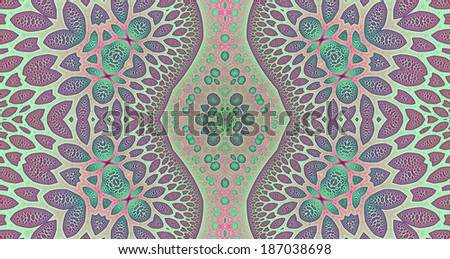 Light pink, green and blue colored abstract high resolution fractal background with a detailed leafy organic looking pattern and a central rhomboid decorative pillar