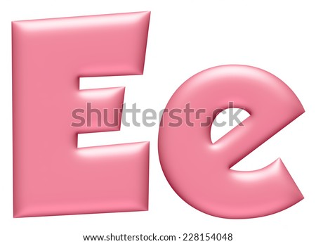 Light pink letter E isolated on white background  - stock photo