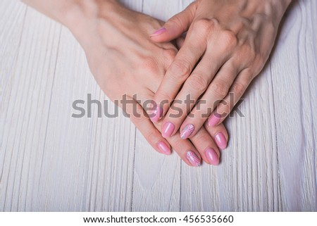 Light Pink Nail Art On Wooden Stock Photo Royalty Free 456535660