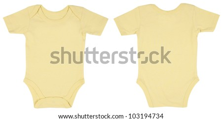Light Pink One Piece Baby Onesie Outfit with Short Sleeves and Snap Closure Front and Back View - stock photo