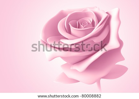 light pink rose pastel colors isolated model 3d  on background