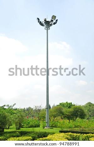 light pole in garden - stock photo