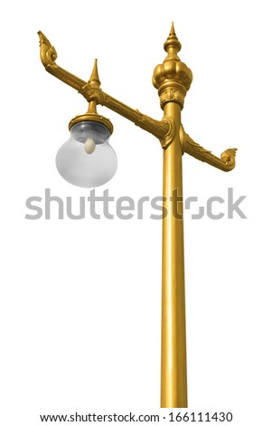 Light pole isolated on white background with clipping path.