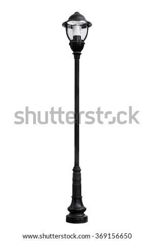 Light pole isolated on white, work with path.