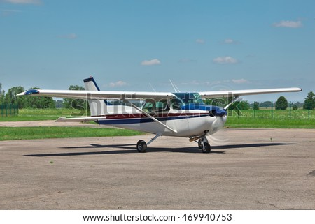 Light private plane on the airfield preparing for a leisure flight