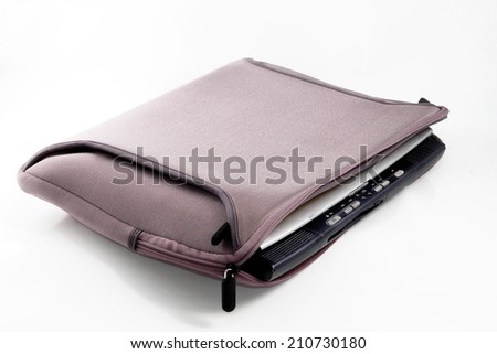 light purple notebook bag on white background - stock photo
