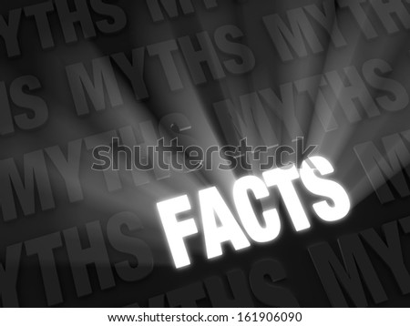 """Light rays burst from bold, glowing """"FACTS"""" on a dark background of """"MYTHS"""" in retro, black and white style - stock photo"""