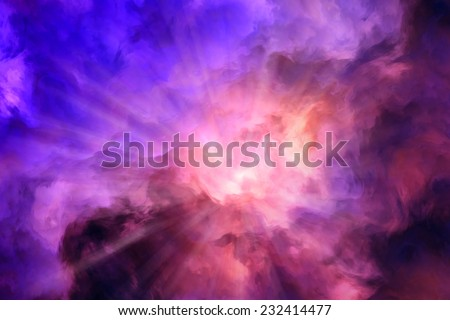 Light rays burst from roiling red and yellow clouds pushing aside calmer blue clouds.  Illustration representing intense energy, creation.