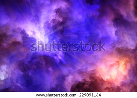 Light rays burst from surreal, blue and purple storm clouds as they push up against roiling red and yellow clouds. - stock photo