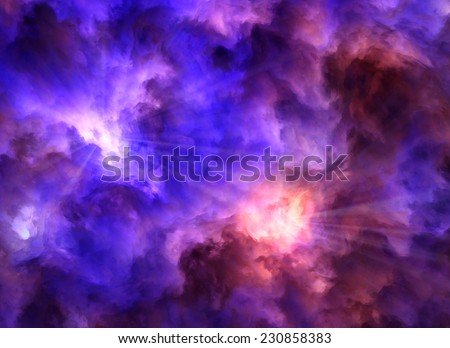 Light rays burst from turbulent, surreal, blue and purple and red and yellow clouds as they collide symbolizing a range of concepts such as creation, the birth of stars, or an ominous maelstrom.
