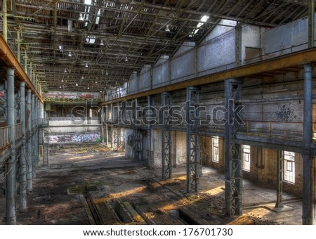 Light rays in a large abandoned production hall