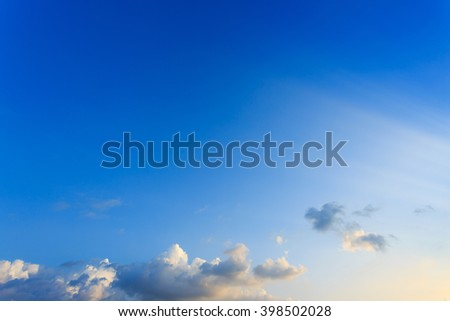 light rays on clear blue sky background - stock photo