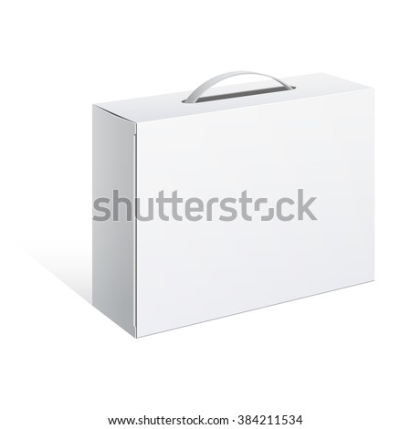 Light Realistic Package Cardboard Box with a handle.  - stock photo