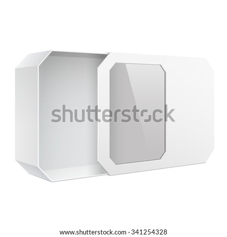 Light Realistic Package Cardboard Box with a transparent plastic window.