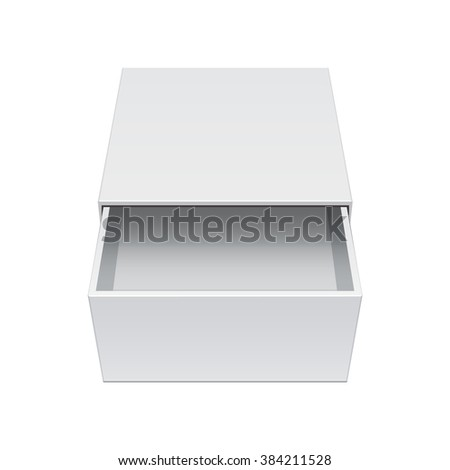 Light Realistic Package Cardboard Sliding Box Opened. For small items, matches, and other things. Illustration - stock photo