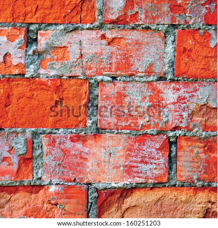 Light red brick wall texture macro closeup, old detailed rough grunge cracked textured bricks copy space background, grungy weathered stained vintage brickwork cut vertical pattern