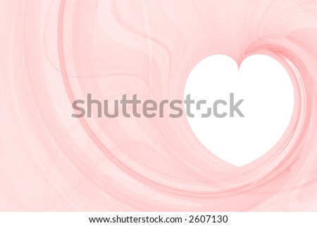 Light red large abstract background with white copyspace in a shape of a heart horizontal layout - stock photo