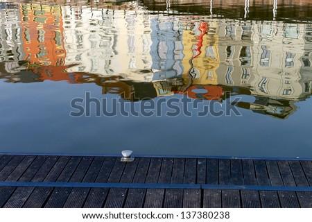 Light reflection at the Nieuwburgkaai in Gent, Belgium - stock photo