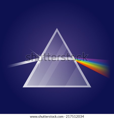 Light refraction in prism - stock photo
