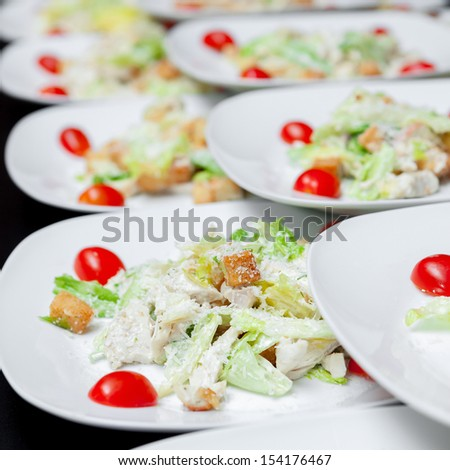Light salad with cheese, parsley and spices