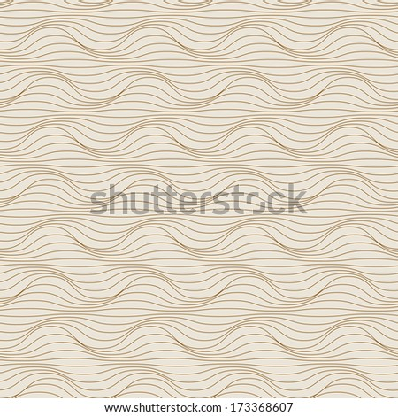 Light seamless pattern of grey wavy lines. Geometric decorative background with visual effect of volume folds. Simple abstract ornamental illustration with texture of covering, fabric, textile