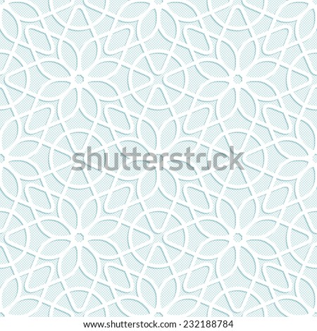 Light seamless texture convex white lace floral pattern in oriental style - stock photo