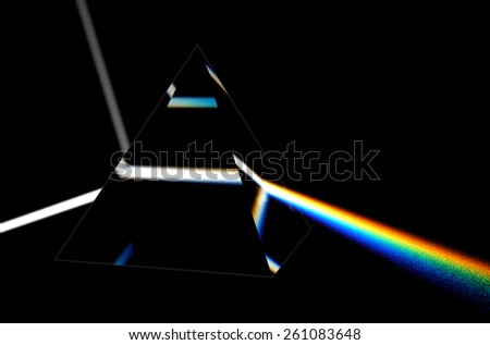 light separated to spectrum through prism - stock photo