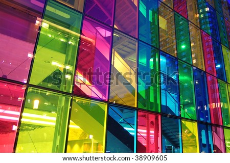 Light shining through modern stained glass windows. Palais des congress, Montreal. - stock photo