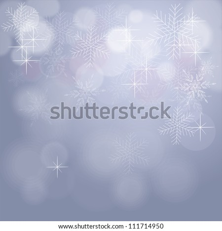 Light silver abstract Christmas background with white snowflakes - stock photo