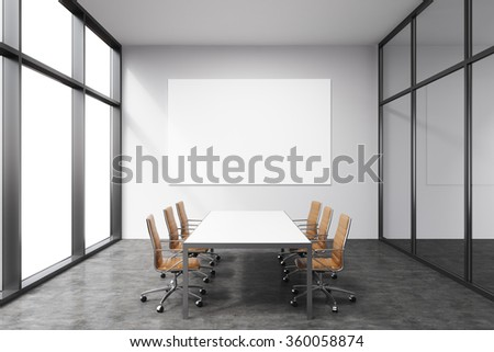 Light spacious meeting room in office building, French window to the left, big white rectangular table and six brown leather armchairs around it. White board on the back wall. Concept of negotiations - stock photo