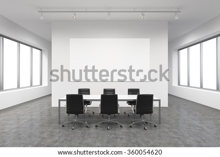 Light spacious meeting room in office building, windows on both sides, big white rectangular table and six black leather armchairs around it. White board on the back wall. Concept of negotiations - stock photo