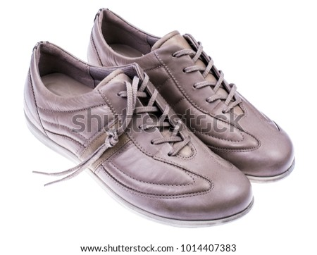 Light Sporty Leather Women's Shoes. Studio Photo
