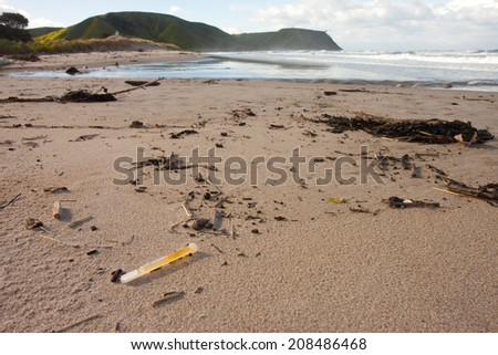 light stick from a fishing net washed ashore on a beach in the southern hemisphere  - stock photo