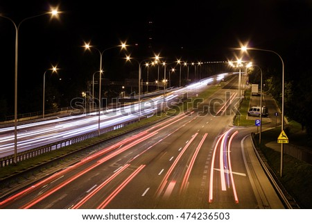 light streaks from cars on the highway