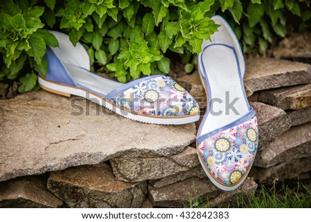 light summer sandals female in nature, advertising shoes a