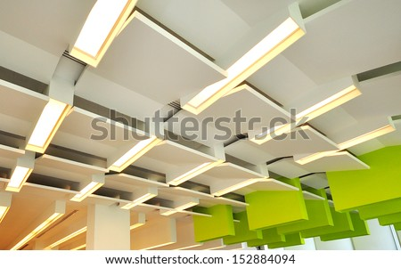 light suspended from ceiling - stock photo
