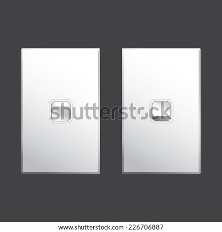 Light switch graphic in both on and off positions in white