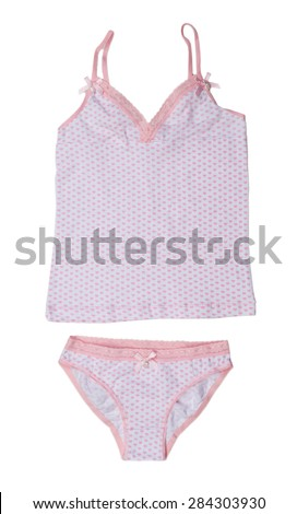 Light T-shirt and panties with pattern heart. Isolate on white. - stock photo