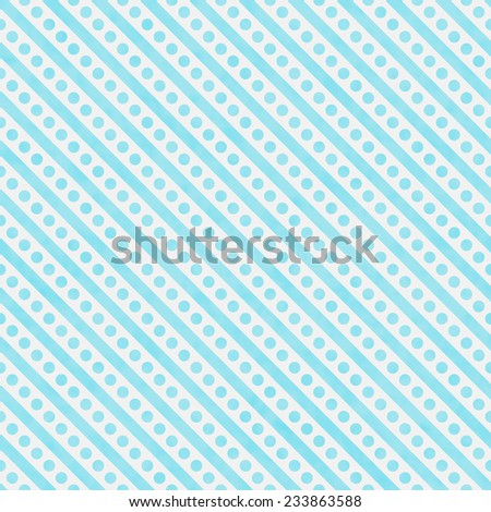 Light Teal and White Small Polka Dots and Stripes Pattern Repeat Background that is seamless and repeats - stock photo
