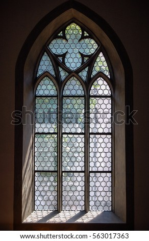 Light Through A Gothic Stone Church Window In Schaffhausen Switzerland