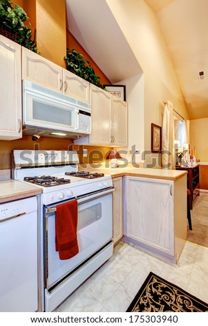 Light tones cozy kitchen room with orange wall and ivory vaulted ceiling - stock photo