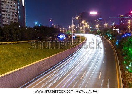 Light tracks on the street in China Shenyang