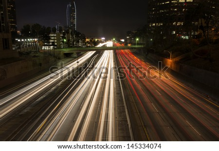 Light trail from highway