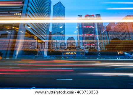 light trails at street,colour image. - stock photo