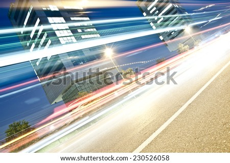 Light Trails in Urban Context, Brescia, Italy - stock photo