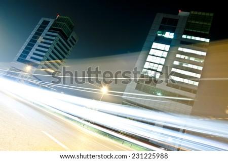 Light Trails in Urban Context, Brescia, Italy - stock photo