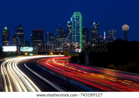 Light Trails leading to downtown Dallas