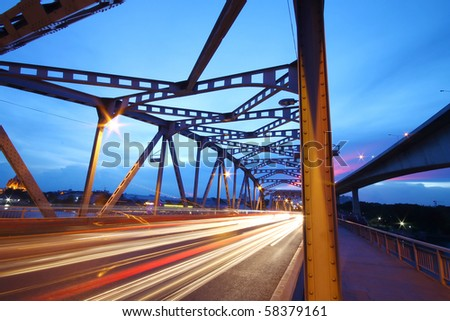light trails on the bridge