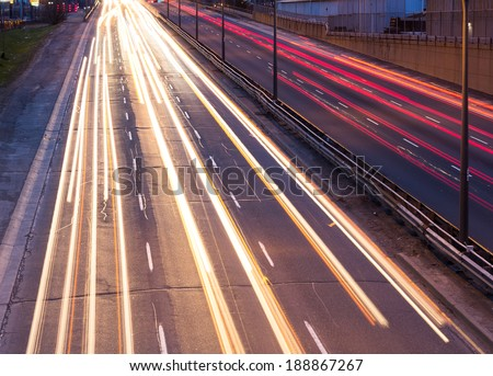 Light trails on the Gardiner Expressway in Toronto