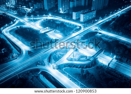 light trails on the highway interchange at night